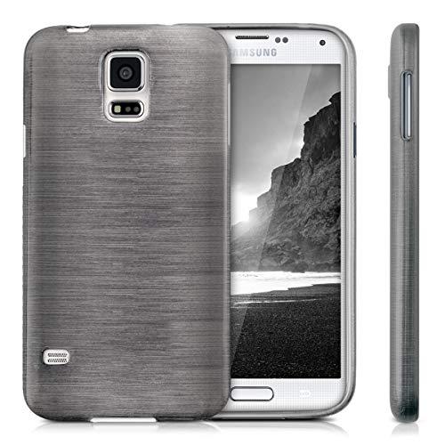 kwmobile Funda Compatible con Samsung Galaxy S5 / S5 Neo - Carcasa de TPU Aluminio Cepillado en Antracita/Transparente