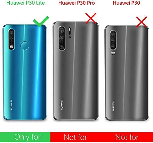 Leathlux Funda Huawei P30 Lite / P30 Lite New Edition + Cristal Protector de Pantalla, Transparente P30 Lite TPU Silicona [Funda+Vidrio Templado] Protector de Pantalla Dureza Carcasas Huawei P30 Lite