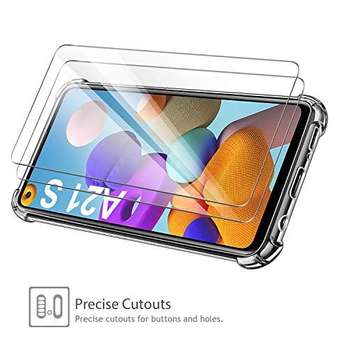 Leathlux Funda para Samsung Galaxy A21s, 2 Pack Cristal Templado Protector de Pantalla, Ultra Fina Silicona Transparente TPU Funda y Protector Airbag Anti-arañazos Carcasa Samsung Galaxy A21s