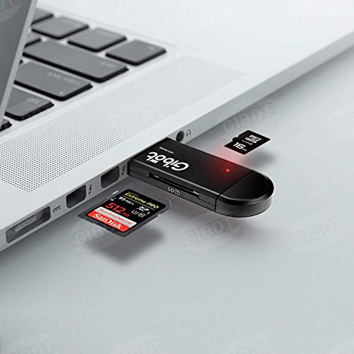 Lector de Tarjetas SD/Micro SD, GiBot Tipo C Lector de Tarjetas con USB-C/USB 2.0/ Micro USB Lector de Tarjetas para Samsung, Huawei, Android Smartphone, Macbook y PC Laptop con función OTG