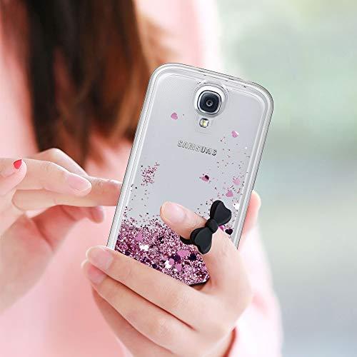 LeYi Compatible with Funda Samsung Galaxy S4 Silicona Purpurina Carcasa con HD Protectores de Pantalla,Transparente Cristal Bumper Telefono Gel TPU Fundas Case Cover para Movil Galaxy S4 ZX Oro Rosa