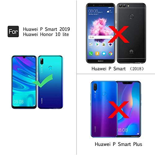 LeYi Funda Huawei P Smart 2019 / Honor 10 Lite con 2-Unidades Cristal Vidrio Templado, Cristal Transparente Shockproof Carcasa Silicona PC y TPU Slim Gel Bumper Cover Case para Movil P Smart, Clear
