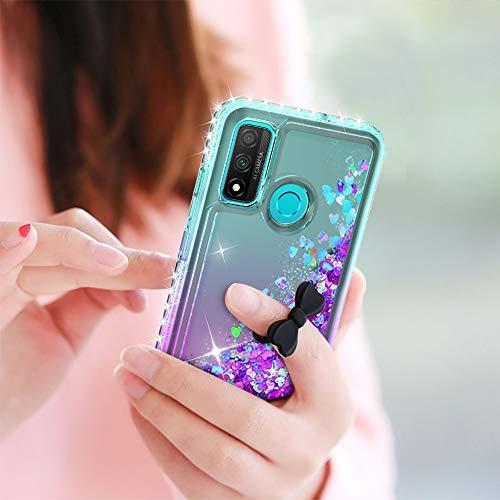 LeYi Funda Huawei P Smart 2020 Silicona Purpurina Carcasa con [2-Unidades Cristal Vidrio Templado], Transparente Cristal Bumper Gel TPU Fundas Case Cover para Movil P Smart 2020 Verde/Morado