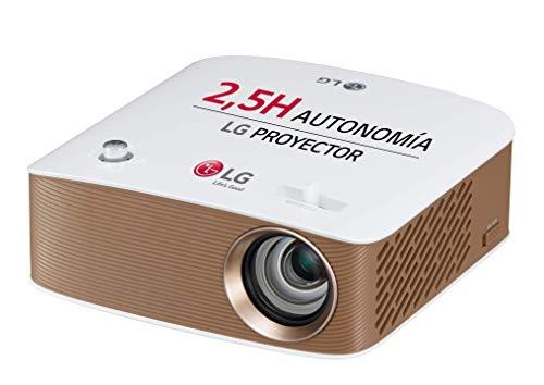 """LG Cinebeam Ph150G - Proyector con Batería Integrada Hasta 100"""", Autonomía 2.5 Horas, Fuente Led, 130 Lúmenes, 1280 X 720, Color Blanco y Dorado"""