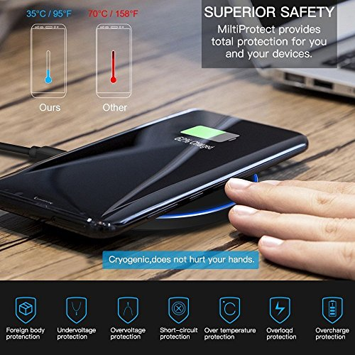 Limxems Cargador Inalámbrico 10W Qi Wireless Carga Rápida Quick Charger para iPhone XS/XS MAX/XR/X / 8 / 8Plus Samsung Galaxy Note 9 /S9 /S8 /S8 Plus /S7 /S8 /S9 / Edge /S6 / Note 8 - Negro