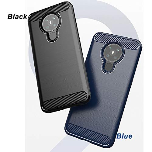"""LJSM Templado Film para Nokia 5.3 Funda Azul Fibra de Carbono + 1 x Protector de Pantalla - Carcasa Suave Caso Carbon Fiber Cover Case para Nokia 5.3 (6.55"""")"""