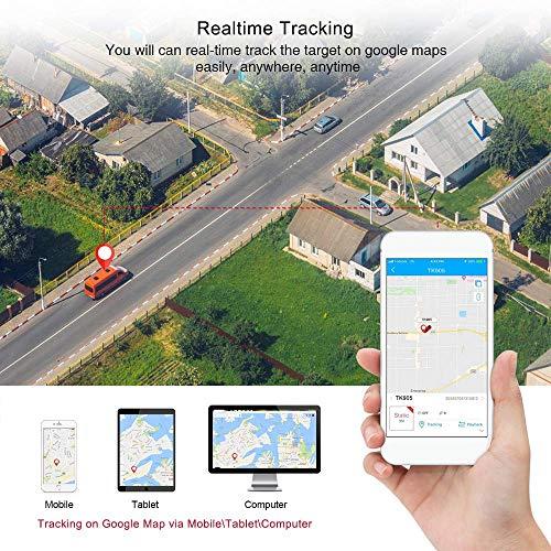 Localizador GPS para Coche, App/Sitio Web posición en Tiempo Real Antirrobo rastreador GPS para Vehículos Fuerte imán y 5000mAh Recarga GPS Tracker con Gratis App para Smartphone TK905
