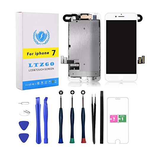 LTZGO Pantalla LCD Táctil Compatible con iPhone 7 Blanco con Altavoz con Sensor de Proximidad, Cámara Frontal, Herramientas y Protector de Pantalla Blanco