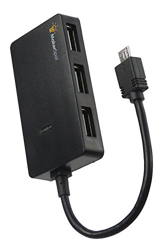 Maker Spot 4Puerto Micro USB Hub OTG, sincronización de alta velocidad y dongle de carga, funciona con Raspberry Pi 23Pi Zero W/Windows/Android/Raspbian Jessie Tablet, Linux