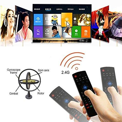 Mando a distancia con Mini Teclado Universal Inalámbrico 2 en 1 Sirve como Ratón Air Mouse Inteligente para Tele Ordenador Smart TV Box con Sistema Android Mac OS Windows y Linux-Normal