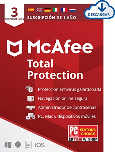 McAfee Total Protection 2020, 3 Dispositivos, 1 Año, Software Antivirus, Seguridad de Internet, Manager de Contraseñas, Seguridad Móvil, Compatible con PC/Mac/Android/iOS, Edición Europea, Descargable