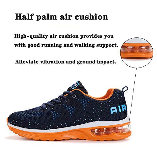 Men Women Running Shoes Sports Shoes Air Trainers Fitness Sports Gym Jogging Athletic Sneakers Blue Orange 39 EU