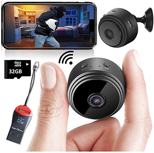 Mini Spy Camera Wireless Hidden Home WiFi Security Cameras with App 1080P, Inc 32GB SD Card + Plus More. Visión Nocturna Movimiento Activado Interior Exterior iPhone/Android Teléfono Pequeña