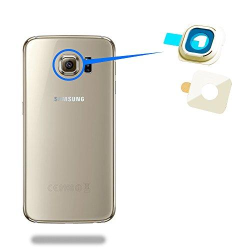 MMOBIEL Reemplazo de Lente para cámara Trasera (Posterior) con Cubierta Compatible con Samsung Galaxy S6 G920 (Oro) Incl. Pinzas y Limpiador