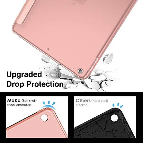 """MoKo Funda para Nuevo iPad 8ª Generación 10.2"""" 2020 (10.2 Pulgadas) / iPad 7ª Generación 2019, Delgado Función de Soporte TPU Protectora Plegable Cubierta Trasera Transparente - Oro Rosa"""