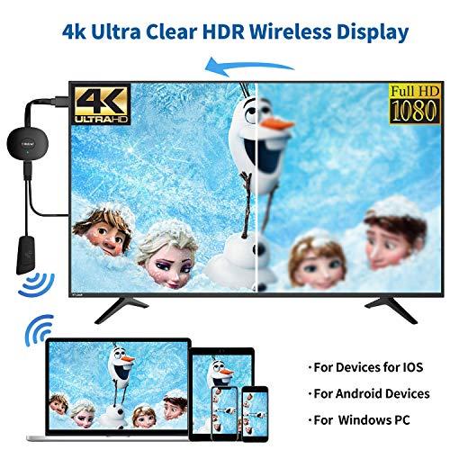 MPIO Wireless Display Dongle HDMI Wi-Fi 4K Adaptador, Receptor de transmisión para iPhone/iPad/IOS/Android/Windows/PC conectado a HD TV/Monitor/Projector/Mac,compatible con Miracast Airplay DLNA,Negro