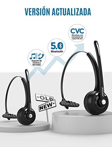 Mpow Bluetooth Headset V5.0, Auriculares inalámbricos con micrófono para teléfono Celular, Cancelación de Ruido CVC 6.0, Auriculares para Centro de Llamadas, Conductor de camión, Skype, Oficina