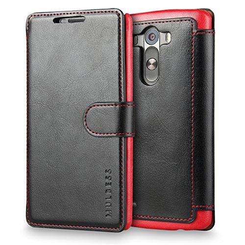 Mulbess Funda LG G3 [Libro Caso Cubierta] [En Capas de Billetera Cuero de la PU] con Tapa Magnética Carcasa para LG G3 Case, Negro