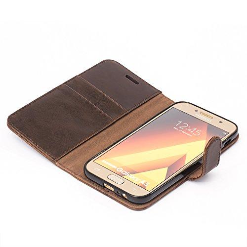 Mulbess Funda Samsung Galaxy A5 2017 [Libro Caso Cubierta] [Vintage de Billetera Cuero de la PU] con Tapa Magnética Carcasa para Samsung Galaxy A5 2017 Case, Vintage Marrón