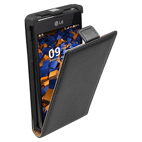 Mumbi - Funda de cuero con pestaña para LG P700 Optimus L7, color negro