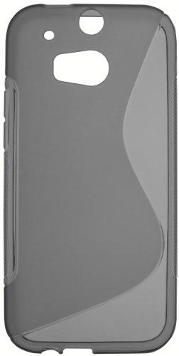 mumbi S-TPU Funda Compatible con HTC One M8/M8s Caja del teléfono móvil, Negro Transparente
