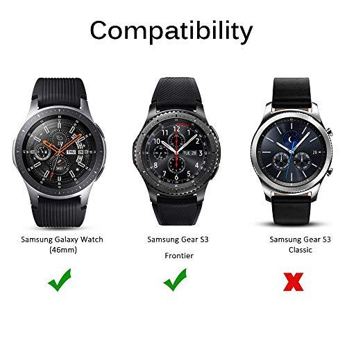 MWOOT Funda y 2 Unidades Protectores Cristal Templado Compatible con Samsung Galaxy Watch 46MM y Samsung Gear S3 Frontier (NO para Classic), Anti-caída Silicona Carcasas Negro