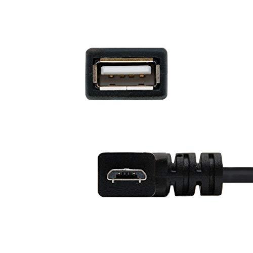 NANOCABLE 10.01.3600 - Cable USB 2.0 OTG acodado (On-The-GO), Tipo Micro B/M-A/H, Macho-Hembra, Negro, 15cm