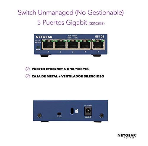 Netgear GS105GE Switch 5 Puertos 10/100/100, Switch Gigabit Unmanaged, Switch Ethernet de Sobremesa, Caja de Metal, Negro