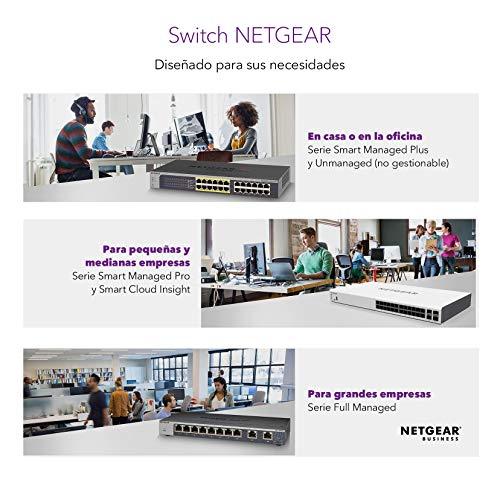 Netgear Nighthawk GS808E-100PES Switch Gaming S8000 (Optimizado para Streaming y Juegos, 8 Puertos Gigabit Ethernet), Color Negro