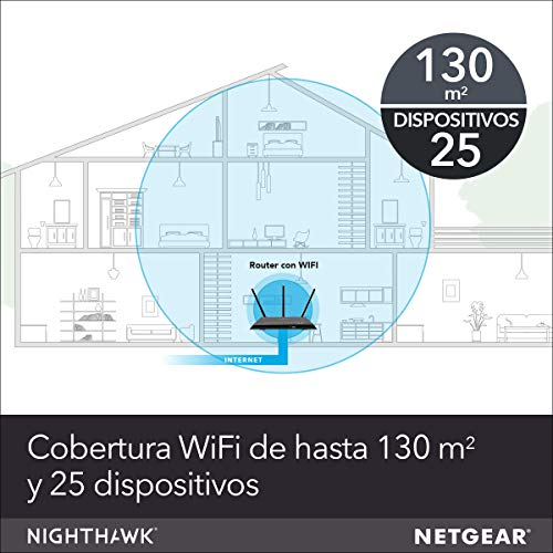 NETGEAR R7000P Router WiFi Nighthawk AC2300, Doble Banda, 4 Puertos Gigabit, protección Armor, Color Negro, 2300 Mbps