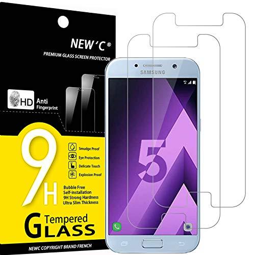 NEW'C 2 Unidades, Protector de Pantalla para Samsung Galaxy A5 2017 (SM-A520F), Antiarañazos, Antihuellas, Sin Burbujas, Dureza 9H, 0.33 mm Ultra Transparente, Vidrio Templado Ultra Resistente