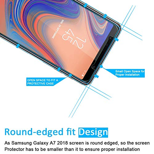 NEW'C 2 Unidades, Protector de Pantalla para Samsung Galaxy A7 (2018), Antiarañazos, Antihuellas, Sin Burbujas, Dureza 9H, 0.33 mm Ultra Transparente, Vidrio Templado Ultra Resistente