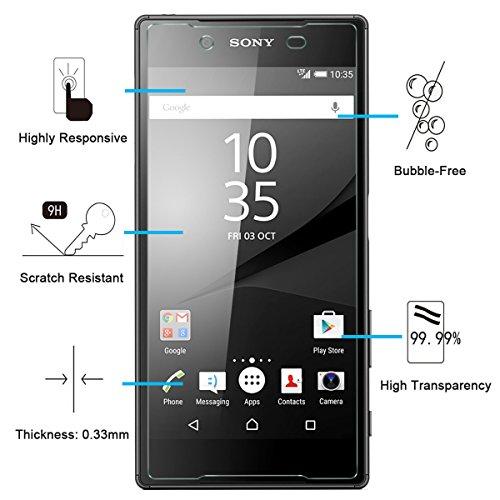 NEW'C 2 Unidades, Protector de Pantalla para Sony Xperia Z5, Antiarañazos, Antihuellas, Sin Burbujas, Dureza 9H, 0.33 mm Ultra Transparente, Vidrio Templado Ultra Resistente