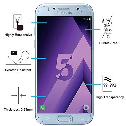 NEW'C 3 Unidades, Protector de Pantalla para Samsung Galaxy A5 2017 (SM-A520F), Antiarañazos, Antihuellas, Sin Burbujas, Dureza 9H, 0.33 mm Ultra Transparente, Vidrio Templado Ultra Resistente