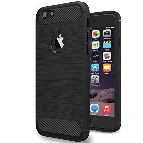NEW'C Funda para iPhone 6 y iPhone 6S, Funda Protectora con absorción de Impactos y Fibra de Carbono [Silicone Gel Flex]