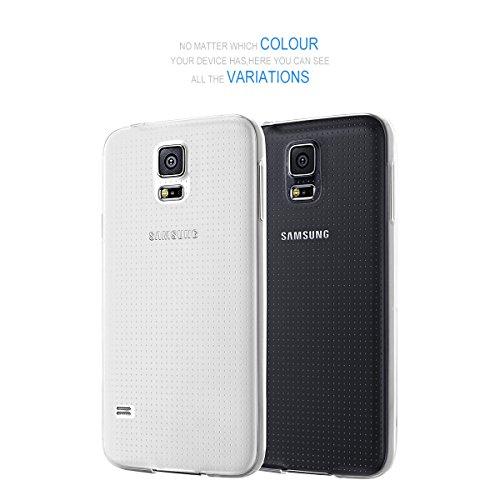 NEW'C Funda para Samsung Galaxy S5, Anti- Choques y Anti- Arañazos, Silicona TPU, HD Clara