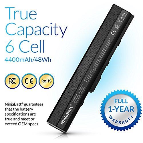NinjaBatt Batería para ASUS A32-K52 A42 K52J K52N K42J K42JC A52F A42-K52 X52F K52 A41-B53 K42F A41-K52 K52F A62 X42 X52J A52J A42J K52JC - Alto Rendimiento [6 Celdas/4400mAh/48wh]