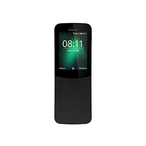 """Nokia 8110 - Teléfono Celular con Llaves, 4G Memoria de 4 GB, Cámara de 2 Mp, 2,45"""", color Negro. Version Internacional."""