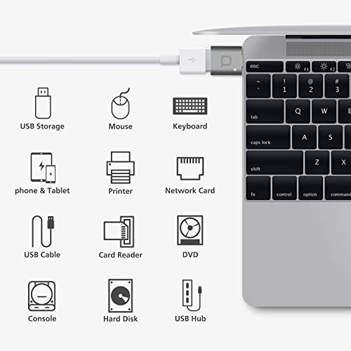 nonda Adaptador USB Tipo C a USB 3.0, Adaptador Thunderbolt 3 a USB de Aluminio con LED Indicador para MacBook Pro 2019/2018, MacBook Air 2018, Pixel 3, y más dispositivos de tipo C (Gris Espacial)