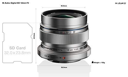 Olympus M.Zuiko - Objetivo Digital ED 12 mm F2.0, longitud focal fija rápida, apto para todas las cámaras MFT (modelos Olympus OM-D & Pen, Serie G de Panasonic), plata