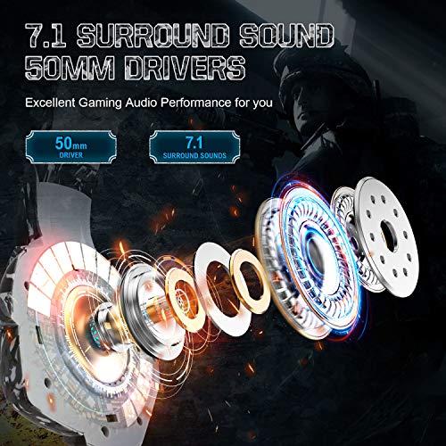 ONIKUMA Auriculares Gaming, Cascos PS4 con Sonido Envolvente 7.1, Cascos Xbox One con Micrófono con Cancelación de Ruido y luz LED, Orejeras de Memoria para PS4, PC, Xbox One (Adaptador no Incluido)