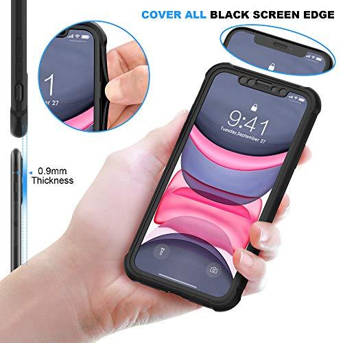 ORETECH Funda iPhone 11, Carcasa iPhone 11 con 2 x Protector de Pantalla de Vidrio Cristal Templado 360° Carcasa Silicona Ligera Delgado PC TPU Bumper Rubber Caso para iPhone 11 Case 6.1''-Negro