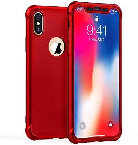 """ORETECH Funda iPhone X,Funda iPhone XS con [2X Protector de Pantalla de Vidrio Templado 360°Carcasa iPhone X XS Case Silicona Ligera Delgado PC TPU Bumper Rubber Caso para iPhone XS X 5.8"""" Rojo"""