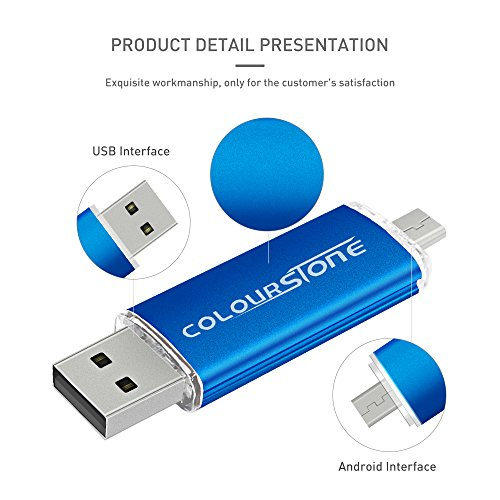 OTGMemoria USB 2.0, Colourstone 32GB Pendrive del Puerto Dual Compatible con Samsung Huawei Smartphones y Tablets Memoria Externa, Azul