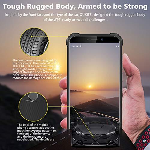 OUKITEL WP5 IP68 Móvil Libre Resistente,Telefonos Robusto Android 9.0 4G Impermeable Smartphone, 8000mAh Batería Rugged Móvil,4+32GB,5.5'' HD+ (Gorilla Glass),Triple Cámara,4 LED Flash (Negro)