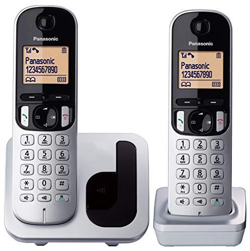Panasonic KX-TGC210 - Teléfono fijo inalámbrico (LCD, identificador de llamadas, agenda de 50 números, tecla de navegación, modo ECO, reducción de ruido), Gris/Negro/Blanco, TGC21 Solo