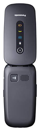 """Panasonic KX-TU466EXBE - Teléfono Móvil para Mayores (Pantalla Color 2.4"""", Botón SOS, Base Carga, Compatibilidad Audífonos, Resistente Golpes, Batería Larga Duración, Bluetooth, GPS, Cámara) Negro"""