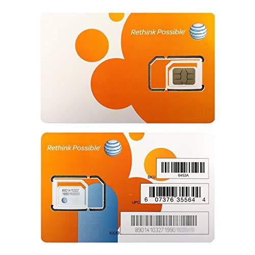 Paquete de 2 tarjetas SIM AT&T ATT Nano GSM 4G/3G/2G LTE Kit de iniciación prepago/postpago sin activar datos de texto de conversación y punto de acceso