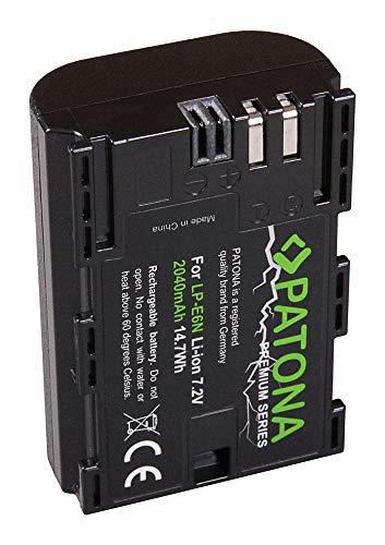 PATONA 2X Premium Bateria LP-E6N 2040mAh Compatible con Canon EOS 80D EOS R, de Calidad Probada y fiable