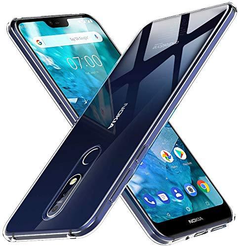 "Peakally Funda Nokia 7.1, Transparente Silicona Funda para Nokia 7.1 Carcasa Flexible Claro Ligero TPU Fundas [Antideslizante] [Resistente a arañazos] 5.84""-Transparente"